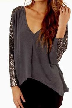 V Neck Sequins Splicing Long Sleeve T-Shirt