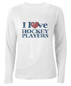 White 'I Love Hockey Players' Long Sleeve Tee