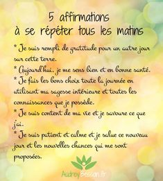 5 affirmations à se répéter tous les matins - Jehan-Michel Bernard - Pin Miracle Morning Affirmations, Louise Hay Affirmations, Affirmations Positives, Vie Positive, Positive Attitude, Positive Vibes, Positive Quotes, Positive Motivation, Burn Out