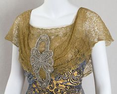 1910 - Unknown. Silk, rhinestones.