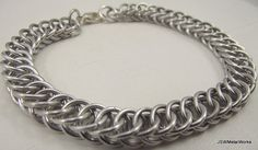 Half Persian Chainmaille Bracelet Medium Aluminum by JSWMetalWorks
