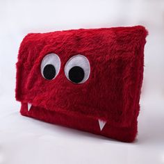 Red Furry Monster Laptop Sleeve 13 Macbook by BarrysFarm on Etsy, $48.00