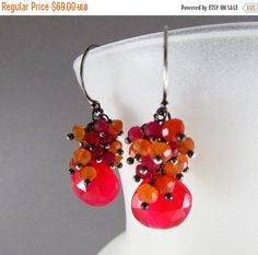 BIGGEST SALE EVER Red Chalcedony, Carnelian and Red Quartz Oxidized Sterling Silver Cluster Earrings