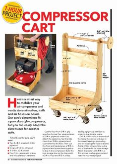 """Air Compressor Cart"" from The Family Handyman, Oct/Nov Read it on the Texture app-unlimited access to top magazines. Air Compressor Cart from The Family Handyman, Oct/Nov Read it on the Texture app-unlimited access to top magazines. Tool Storage Cabinets, Garage Tool Storage, Workshop Storage, Garage Tools, Diy Storage, Garage Tool Organization, Garage Workshop, Workshop Ideas, Storage Ideas"