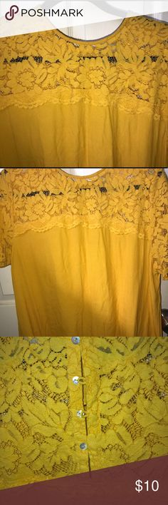 Mustard Yellow top This is the Shortsleeve have lace blouse with buttons on the back going down halfway down the back H&M Tops Blouses