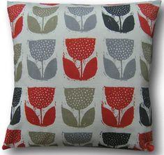 Cushion Cover Poppy Pod Amber Orange Retro Design Scatter