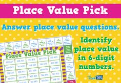 Place Value Pick - Place Value to Hundreds of Thousands
