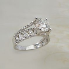 Show Stopper! 18K White Gold Cathedral Style Pave Setting Round Diamond Solitaire Engagement Wedding Ring