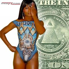Body painting by Athena Zhe, illuminati all seeing eye dollar bill