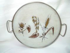 Vintage Mid Century Round Glass Tray Wheat by LakesideHaven, $22.00