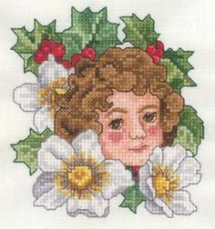 Free December - Christmas Rose Flower Girl Embroidery Design | AnnTheGran
