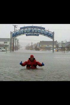 Sea Isle City, NJ - about 4 hous before landfall. Sea Isle City, Best Vacation Spots, Hurricane Sandy, Ocean City, Ocean Waves, Golden Gate Bridge, New Jersey, Great Places, East Hanover