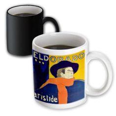 3dRose Vintage French advert for singer Aristide Bruant by Toulouse-Lautrec - cafe-cabaret at the Eldorado, Magic Transforming Mug, 11oz