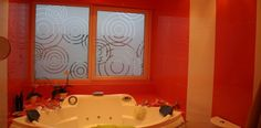 Stylish window film applied on a bathroom window creates privacy in addition to looking beautiful Glass Etching, Etched Glass, Window Privacy, Bathroom Windows, Window Film, Hand Carved, Glass Art, Bathtub, How To Apply