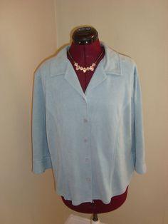 Kathy ireland Sz XL Women's Blue Faux Suede Button Front Shirt Princess Lines #kathyireland #ButtonDownShirt