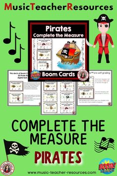 From Music Teacher Resources, these 20 PIRATE themed digital task cards on the BOOM Learning™ website are fun, educational and engaging activities to reinforce the concept of rhythm! Each card gives the student one four-beat measure/bar; however, one of the notes is hidden by a PIRATE image. Students are to select the note needed to complete the measure/bar. ♫ ♫ #musiceducation #mtr #boomcardsformusic #boomcards