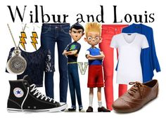 """""""Wilbur and Louis (Meet the Robinsons)"""" by fabfandoms ❤ liked on Polyvore featuring H&M, Forever New, MANGO, Converse and Ollio"""