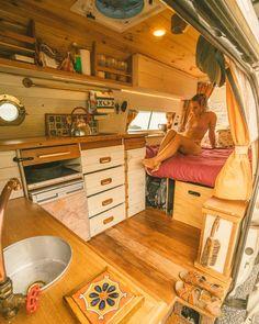 10 Van Lifers You Should on Right Now - Dwell Kombi Motorhome, Bus Camper, Camper Life, Van Conversion Interior, Camper Van Conversion Diy, Bus Living, Tiny Living, Living Area, Living Room