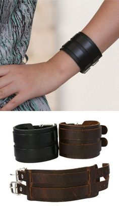 Genuine Leather Cuff Is Perfect As A Wrist Tattoo Cover.  Or Just Want To Make A Statement? Then This Leather Cuff Bracelet Is Perfect For You!  It's Made With Today's Style In Mind. The Bracelet Is