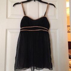 Intimate cami, ❤️never worn babydoll top Never worn. Sexy and tasteful sleep top. Black with leopard print detail. Pair with boy shorts.no padding in chest area. Victoria's Secret Intimates & Sleepwear