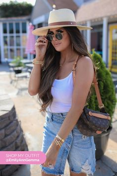 SKIRT: Free People | TOP: bp | HAT: Rag & Bone  | SNEAKERS: Gucci  | WATCH: Rolex  | BRACELET STACK: Cartier | RINGS: Cartier, Dior  | LIP COMBO:  'Iconic Nude' + 'Kim KW' + 'Crystalline' | BAG: Louis Vuitton  | SUNGLASSES: Ray Ban | EARRINGS: Argento Vivo. Casual Summer Outfit Emily Gemma, The Sweetest Thing Blog #EmilyGemma #theSweetestThingBlog