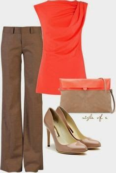 Tan and Coral outfit~Perfect for the spring! Already have these pieces in my closet!