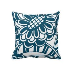 Geometric Floral Pattern in Graphic Bold Blue Pillow #vintagemademodern #blue #graphic #floral #pattern