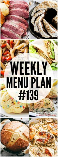 MENU PLAN ( - A delicious collection of dinner, side dish and dessert recipes to help you plan your weekly menu and make life easier for you! Budget Freezer Meals, Healthy Freezer Meals, Frugal Meals, Healthy Recipes, Delicious Recipes, Budget Recipes, Budget Dinners, Weekly Menu Planning, Budget Meal Planning