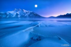 A winter full moon night - A winter full moon night in Banff national park after a severe snow storm. There are still open water sections on the lake and the ice is thin. This is my first perspective blending artwork, so don't be surprised about the size of the moon, cause it is what your eyes can see instead of what the camera can capture.