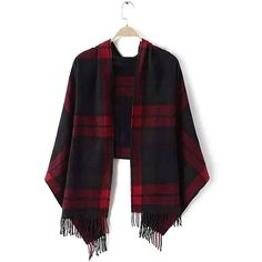 Yoins Plaid Fringed Scarf ($19) ❤ liked on Polyvore featuring accessories, scarves, yoins, black, scarves & shawls, tartan shawl, plaid shawl, shawl scarves, tartan scarves and fringed shawls