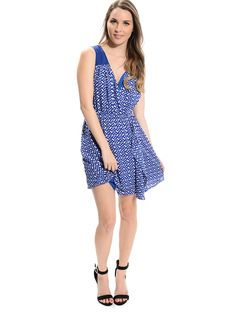 Blue Surplice Neck Abstract Dress | $10 | Cheap Trendy Casual Dresses Chic Discount Fashion for Wome