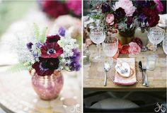 Beautiful wine anemones, blush pink dahlias & blush pink garden roses