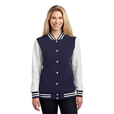 Sport Tek Women's Comfortable Fleece Letterman Jacket True Navy XXX-Large