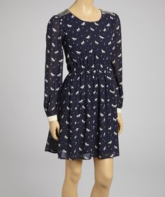 Take a look at this Yumi Navy Unicorn Studded A-Line Dress on zulily today!