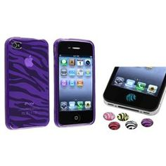 INSTEN Zebra Clear Purple Rubber Case Cover+6x Home Button Sticker For iPhone 4 4S
