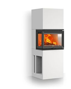 """The Jøtul FS 74 from Jøtul in Norway is a sleek modern fireplace design that will fit modern decor scheme, yet also work well with natural elements such as stone and wood. Check the company's """"Inspiration"""" section to see how it looks in a home. Wood Fireplace Inserts, Cast Iron Fireplace Insert, Modern Fireplace, Fireplace Design, Gas Stove Fireplace, Small Wood Burning Stove, Norwegian Wood, Wood Burner, Design Moderne"""