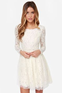 Be-Gauze I Love You Cream Lace Dress at Lulus.com! This is the perfect flirty, lacy spring dress!