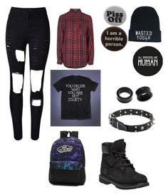 """""""First day of school"""" by theratchetdragon on Polyvore featuring NOVICA, Humör, Vans, Topshop and Timberland"""