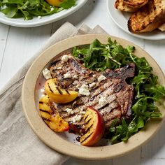 Bone-In Pork Chops with Grilled Peaches & Arugula Pork Rib Recipes, Pear Recipes, Grilling Recipes, Diabetic Recipes, Dinner Recipes, Diabetic Foods, Summer Recipes, Easy Dinners For Two, Quick Easy Dinner