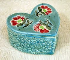 ceramic, hand-made heart box with stamped flowers, pottery, clay box.
