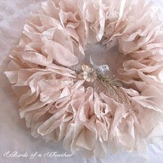 coffee filter wreath -- she used pomegranate tea to dye the filters pink!  :)