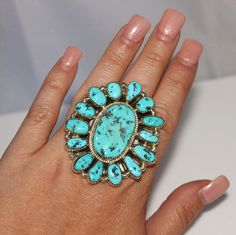 Vintage Navajo Indian Silver Ray Sterling Turquoise Nugget Cluster Ring, Size 9.5, HUGE