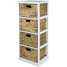 Hartleys White 4 Basket Chest Home Storage Unit Wicker Drawers. Collect for sale online Home Storage Units, 3 Drawer Storage Unit, Shoe Drawer, Bathroom Storage, Storage Baskets, Locker Storage, Storage Ideas, Shoe Storage, Wicker Basket Drawers