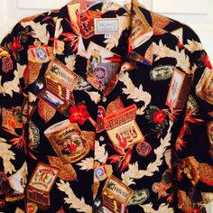Kalaheo Hawaiian Shirt XL Black Kingston Cigars Cigar Button Front Hawaii Moana…