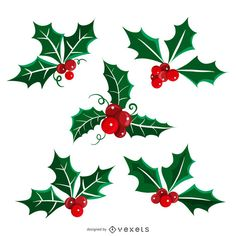 Set of Christmas illustrations featuring isolated mistletoe. Christmas Doodles, Christmas Paper Crafts, Christmas Clipart, Christmas Themes, Christmas Decorations, Christmas Ornaments, Watercolor Christmas Cards, Christmas Drawing, Christmas Paintings