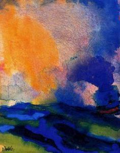 meer mit rot himmel von Emile Nolde (1867-1956, Germany)