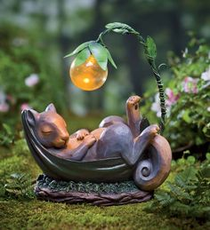 Solar Lighted Daydreaming Animal Sculpture Also comes in Puppy and Frog