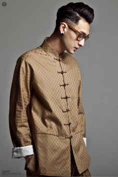 Chinese style high quality plaid tang suit male slim chinese style men's clothing national clothes