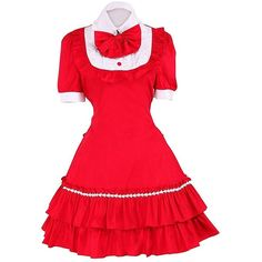 Partiss Women's Bow Ruffles Cute Sweet Vintage Gothic Lolita School... ($1,890) ❤ liked on Polyvore featuring dresses, flutter-sleeve dress, frilly dresses, red bow dress, ruffle dress and vintage red dress