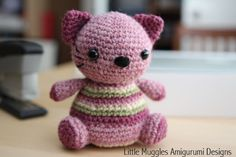 Violet the Kitty free amigurumi pattern by Little Muggles Amigurumi Designs. Materials: Size USG6/4.00mm crochet hook Worsted weight yarn Light pink (Lion Brand Wool-Ease in Dark Rose Heather) Dark pink (Lion Brand Wool-Ease in Rose Heather) Beige (Vanna's Choice in Beige) Green (Vanna's Choice in Dusty Green) Black 9mm safety eyes black embroidery thread fiber fill stitch marker yarn needle Pattern More Patterns Like This!